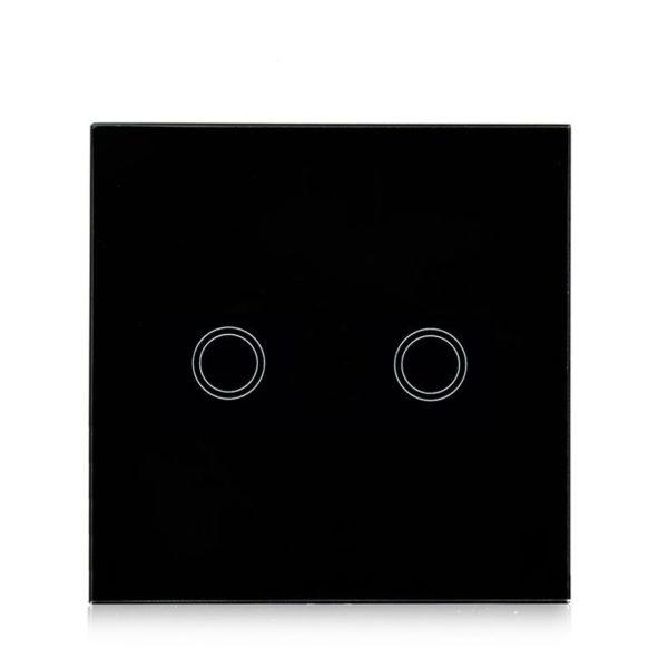 Intrerupator dublu inteligent NEGRU controlat prin WIFi si Internet compatibil Alexa si Google Home