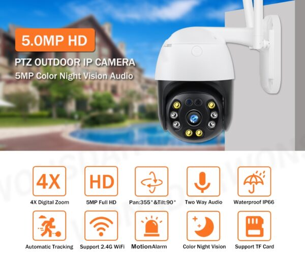 Camera supraveghere IP wireless exterior VITEVISION 5 MP IP9088 2592×1944 p